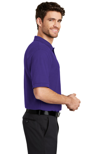 Port Authority K500 Mens Silk Touch Wrinkle Resistant Short Sleeve Polo Shirt Purple Side