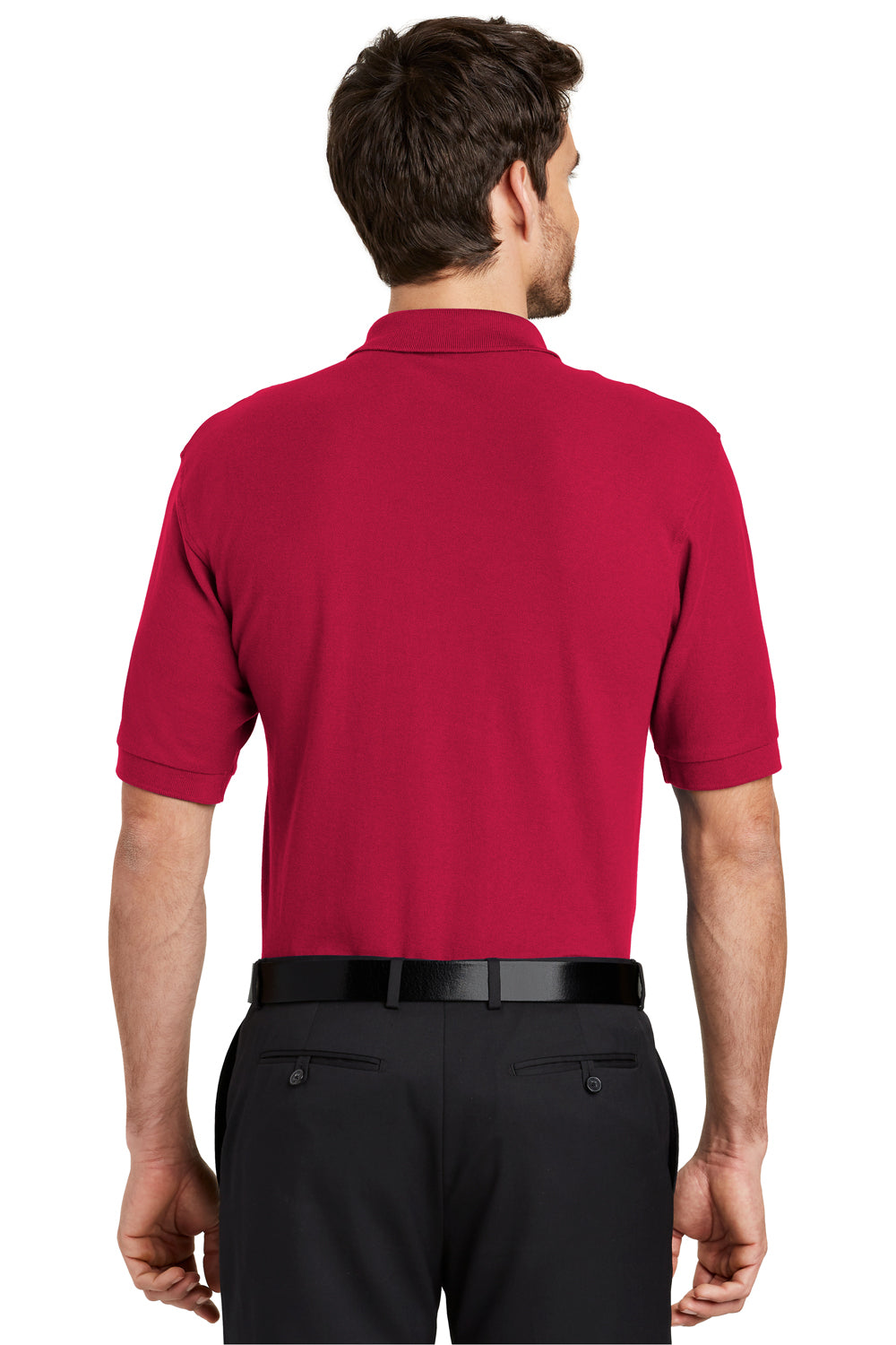 Port Authority K500 Mens Silk Touch Wrinkle Resistant Short Sleeve Polo Shirt Red Back