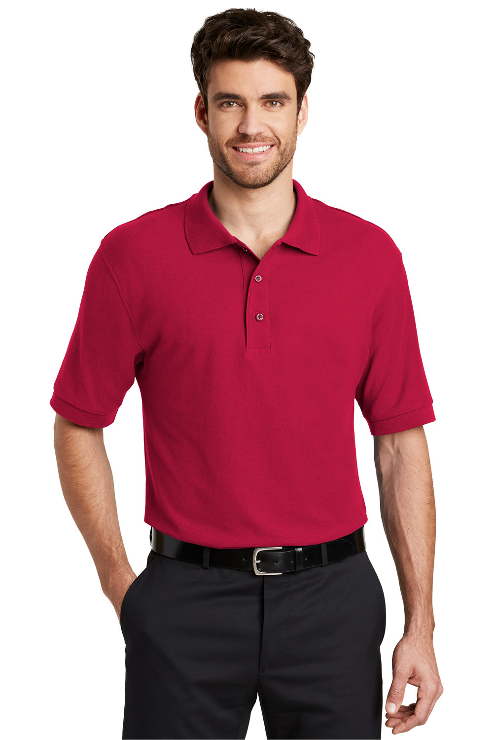Port Authority K500 Mens Silk Touch Wrinkle Resistant Short Sleeve Polo Shirt Red Front