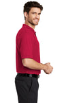 Port Authority K500 Mens Silk Touch Wrinkle Resistant Short Sleeve Polo Shirt Red Side