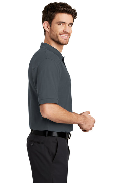 Port Authority K500 Mens Silk Touch Wrinkle Resistant Short Sleeve Polo Shirt Steel Grey Side