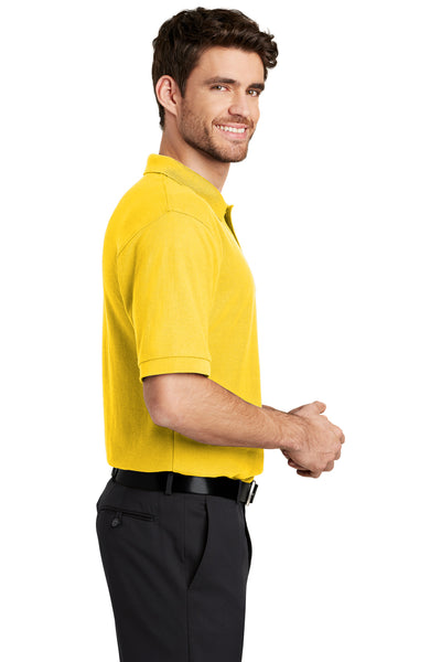 Port Authority K500 Mens Silk Touch Wrinkle Resistant Short Sleeve Polo Shirt Sunflower Yellow Side