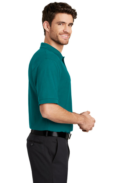 Port Authority K500 Mens Silk Touch Wrinkle Resistant Short Sleeve Polo Shirt Teal Green Side