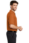 Port Authority K500 Mens Silk Touch Wrinkle Resistant Short Sleeve Polo Shirt Texas Orange Side