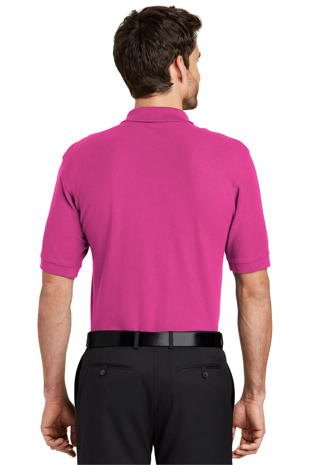 Port Authority K500 Mens Silk Touch Wrinkle Resistant Short Sleeve Polo Shirt Tropical Pink Back