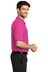 Port Authority K500 Mens Silk Touch Wrinkle Resistant Short Sleeve Polo Shirt Tropical Pink Side