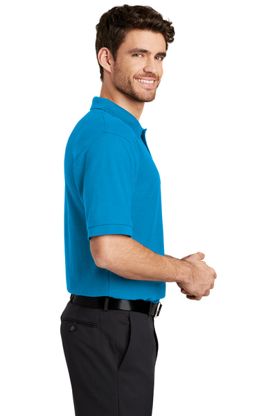 Port Authority K500 Mens Silk Touch Wrinkle Resistant Short Sleeve Polo Shirt Turquoise Blue Side