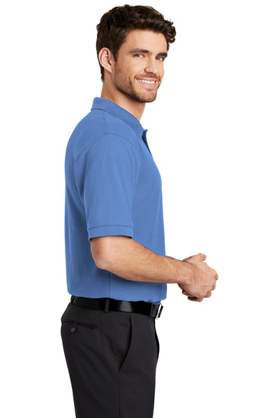 Port Authority K500 Mens Silk Touch Wrinkle Resistant Short Sleeve Polo Shirt Ultramarine Blue Side
