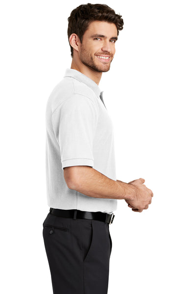 Port Authority K500 Mens Silk Touch Wrinkle Resistant Short Sleeve Polo Shirt White Side