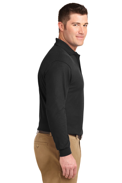 Port Authority K500LS Mens Silk Touch Wrinkle Resistant Long Sleeve Polo Shirt Black Side
