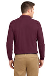 Port Authority K500LS Mens Silk Touch Wrinkle Resistant Long Sleeve Polo Shirt Burgundy Back