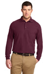 Port Authority K500LS Mens Silk Touch Wrinkle Resistant Long Sleeve Polo Shirt Burgundy Front