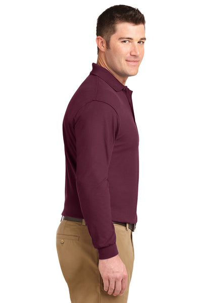Port Authority K500LS Mens Silk Touch Wrinkle Resistant Long Sleeve Polo Shirt Burgundy Side