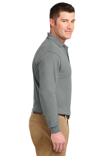 Port Authority K500LS Mens Silk Touch Wrinkle Resistant Long Sleeve Polo Shirt Cool Grey Side