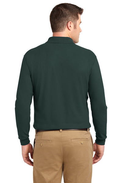 Port Authority K500LS Mens Silk Touch Wrinkle Resistant Long Sleeve Polo Shirt Dark Green Back