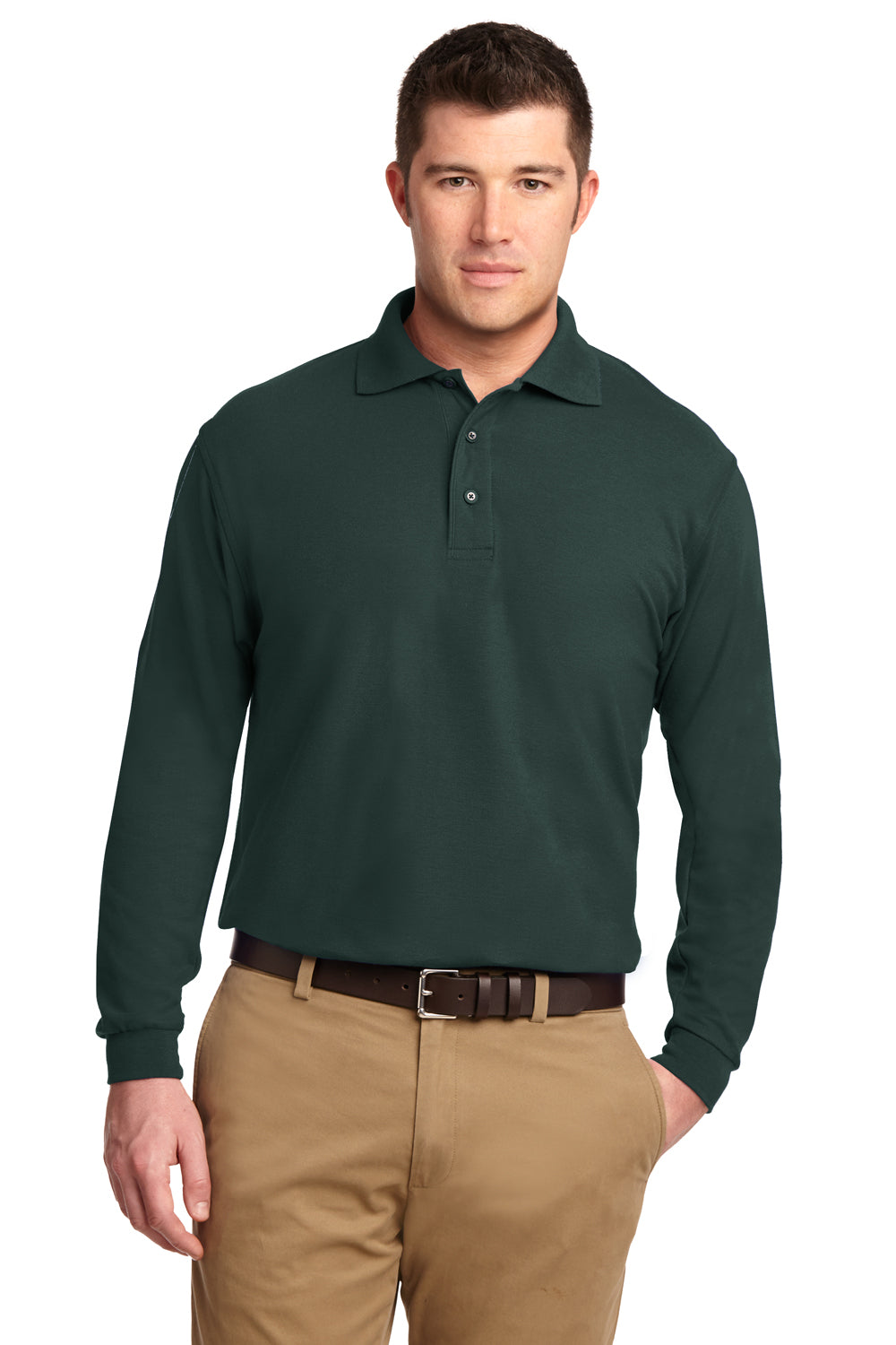 Port Authority Mens Silk Touch Wrinkle Resistant Long Sleeve Polo Shirt - Dark Green