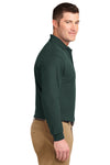Port Authority K500LS Mens Silk Touch Wrinkle Resistant Long Sleeve Polo Shirt Dark Green Side