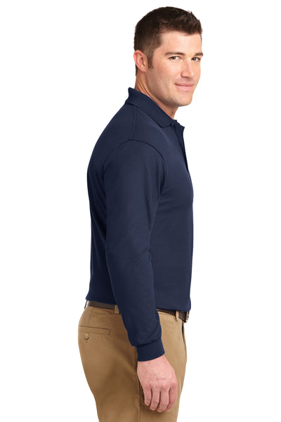 Port Authority K500LS Mens Silk Touch Wrinkle Resistant Long Sleeve Polo Shirt Navy Blue Side