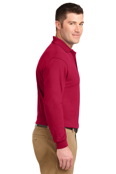 Port Authority K500LS Mens Silk Touch Wrinkle Resistant Long Sleeve Polo Shirt Red Side