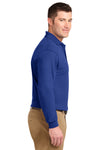 Port Authority K500LS Mens Silk Touch Wrinkle Resistant Long Sleeve Polo Shirt Royal Blue Side