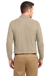 Port Authority K500LS Mens Silk Touch Wrinkle Resistant Long Sleeve Polo Shirt Stone Brown Back