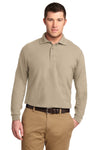 Port Authority K500LS Mens Silk Touch Wrinkle Resistant Long Sleeve Polo Shirt Stone Brown Front