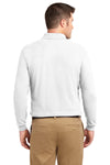 Port Authority K500LS Mens Silk Touch Wrinkle Resistant Long Sleeve Polo Shirt White Back