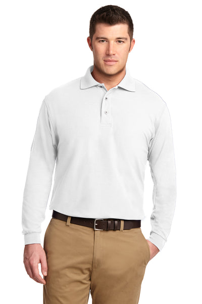Port Authority K500LS Mens Silk Touch Wrinkle Resistant Long Sleeve Polo Shirt White Front
