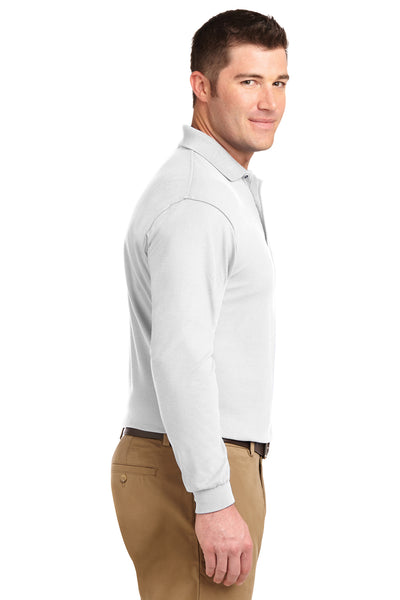 Port Authority K500LS Mens Silk Touch Wrinkle Resistant Long Sleeve Polo Shirt White Side