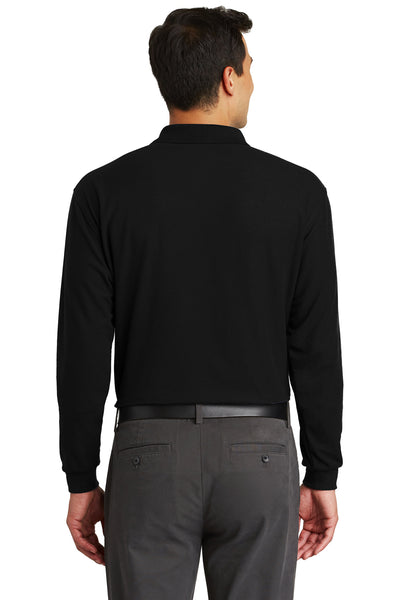 Port Authority K500LSP Mens Silk Touch Wrinkle Resistant Long Sleeve Polo Shirt w/ Pocket Black Back