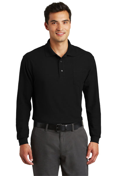 Port Authority K500LSP Mens Silk Touch Wrinkle Resistant Long Sleeve Polo Shirt w/ Pocket Black Front