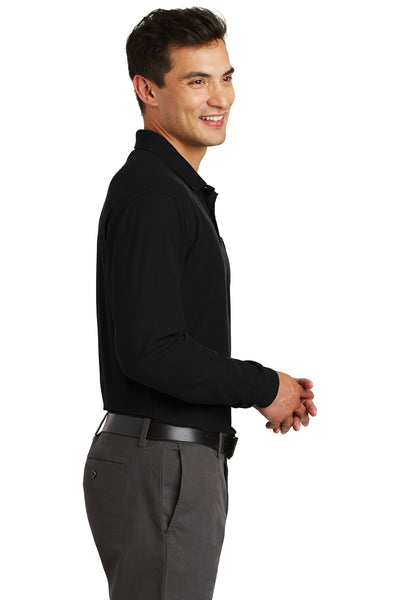 Port Authority K500LSP Mens Silk Touch Wrinkle Resistant Long Sleeve Polo Shirt w/ Pocket Black Side