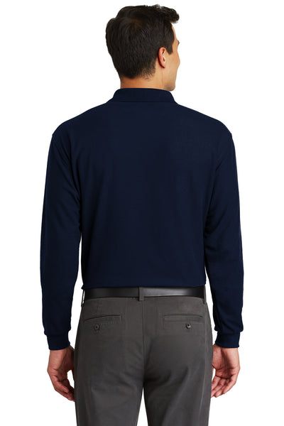 Port Authority K500LSP Mens Silk Touch Wrinkle Resistant Long Sleeve Polo Shirt w/ Pocket Navy Blue Back