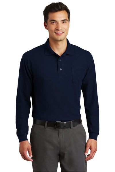 Port Authority K500LSP Mens Silk Touch Wrinkle Resistant Long Sleeve Polo Shirt w/ Pocket Navy Blue Front