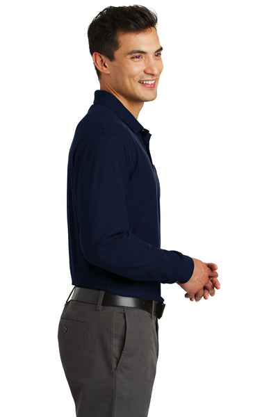 Port Authority K500LSP Mens Silk Touch Wrinkle Resistant Long Sleeve Polo Shirt w/ Pocket Navy Blue Side