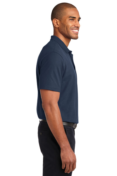 Port Authority K510 Mens Moisture Wicking Short Sleeve Polo Shirt Navy Blue Side