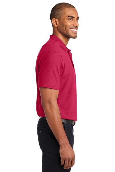 Port Authority K510 Mens Moisture Wicking Short Sleeve Polo Shirt Red Side