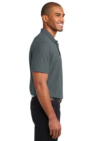 Port Authority K510 Mens Moisture Wicking Short Sleeve Polo Shirt Steel Grey Side