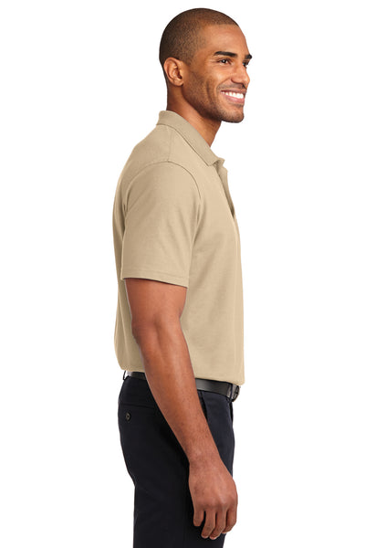 Port Authority K510 Mens Moisture Wicking Short Sleeve Polo Shirt Stone Brown Side