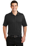 Port Authority K5200 Mens Silk Touch Performance Moisture Wicking Short Sleeve Polo Shirt Black Front