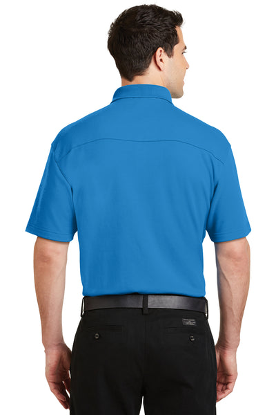 Port Authority K5200 Mens Silk Touch Performance Moisture Wicking Short Sleeve Polo Shirt Brilliant Blue Back