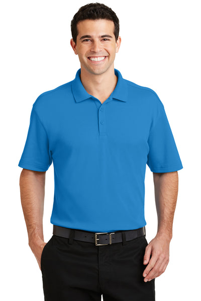 Port Authority K5200 Mens Silk Touch Performance Moisture Wicking Short Sleeve Polo Shirt Brilliant Blue Front