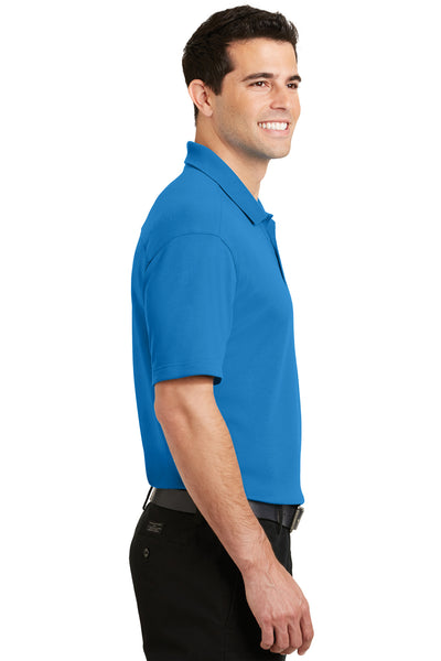 Port Authority K5200 Mens Silk Touch Performance Moisture Wicking Short Sleeve Polo Shirt Brilliant Blue Side