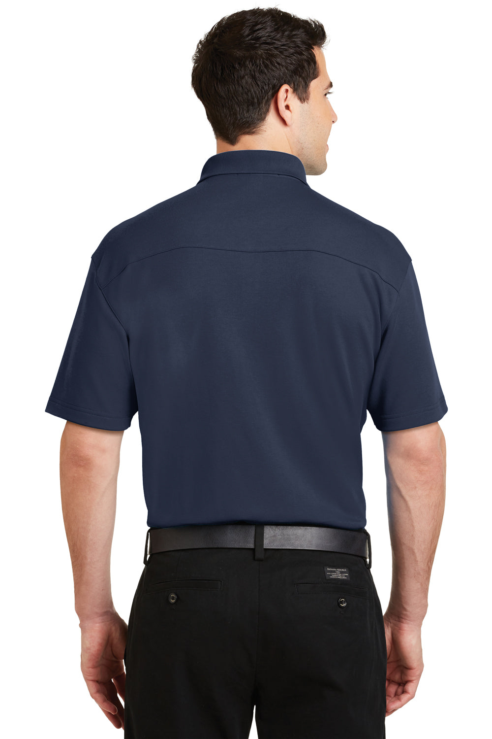 Port Authority K5200 Mens Silk Touch Performance Moisture Wicking Short Sleeve Polo Shirt Navy Blue Back