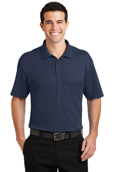 Port Authority K5200 Mens Silk Touch Performance Moisture Wicking Short Sleeve Polo Shirt Navy Blue Front