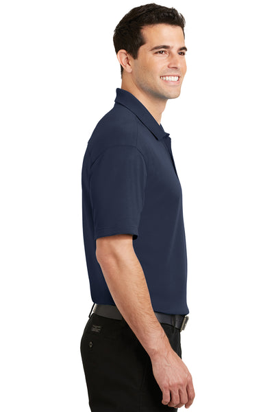 Port Authority K5200 Mens Silk Touch Performance Moisture Wicking Short Sleeve Polo Shirt Navy Blue Side