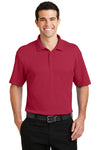 Port Authority K5200 Mens Silk Touch Performance Moisture Wicking Short Sleeve Polo Shirt Red Front