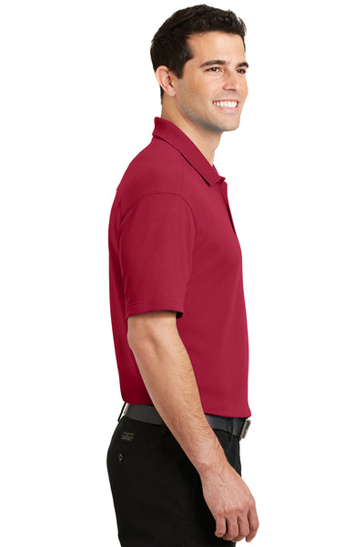 Port Authority K5200 Mens Silk Touch Performance Moisture Wicking Short Sleeve Polo Shirt Red Side