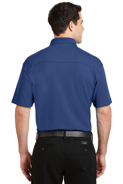 Port Authority K5200 Mens Silk Touch Performance Moisture Wicking Short Sleeve Polo Shirt Royal Blue Back