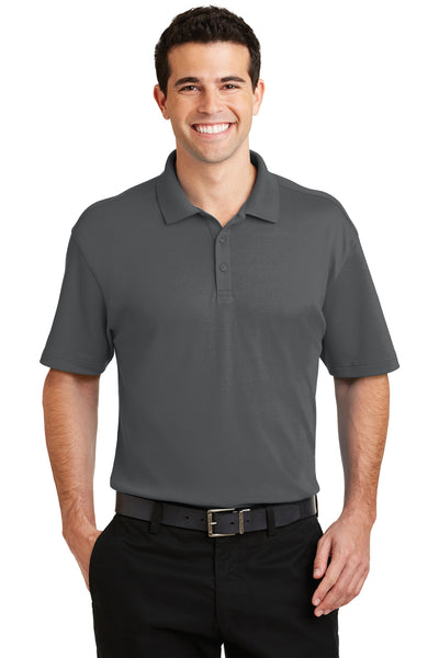 Port Authority K5200 Mens Silk Touch Performance Moisture Wicking Short Sleeve Polo Shirt Sterling Grey Front